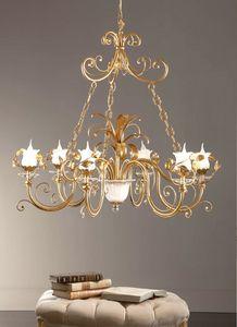 L.8305/6, Lampadario in stile classico, finiture foglia oro