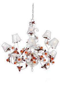 Rose LA/9, Lampadario con fiori decorativi in vetro Murano