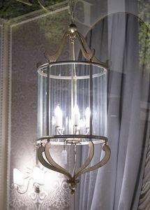 VETRI TAGLIATI HL1084CH-5, Lanterna in ferro con decori in vetro