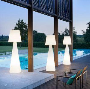 Lampada da terra colonna stelo luminoso design moderno Slide Pivot LA PVT, Lampada in polietilene anche per esterno