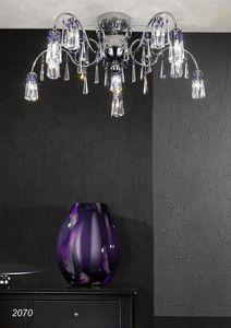 Art. 2070 Orion, Plafoniera in ottone cromato e cristallo