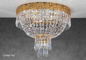 Art. CRISTAL 142, Lussuosa plafoniera con pendagli in cristallo