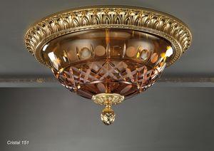 Art. CRISTAL 151, Plafoniera coppa in cristallo molato ambra