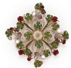 PL.5255/4, Plafoniera con 4 luci, con foglie e rose