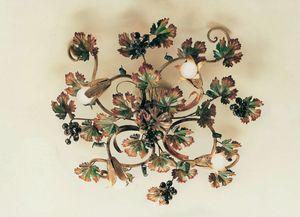 PL.5790/4, Plafoniera in ferro battuto, decorazioni autunnali