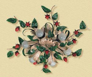 PL.6140/6, Plafoniera con fragole e foglie decorative