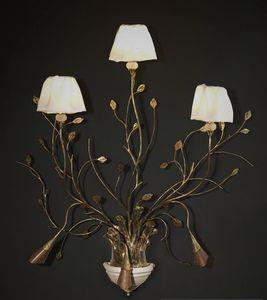 RAMI HL1008WA-3, Applique in ferro lavorato con foglie decorative