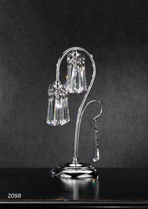 Art. 2098 Orion, Lampada da tavolo in ottone cromato e cristallo