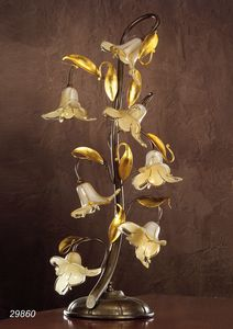Art. 29860 Jolie, Lampada da tavolo con fiori decorativi