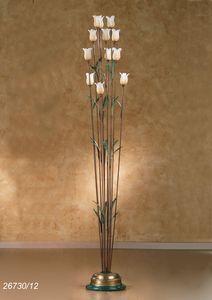 Art. 26730/12 Butterfly, Lampada da terra in ottone e vetro