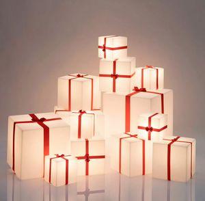 Lampada da terra tavolo cubo luminoso pacco Natale Slide Merry Cubo LP CUX0, Lampada a forma di pacco regalo