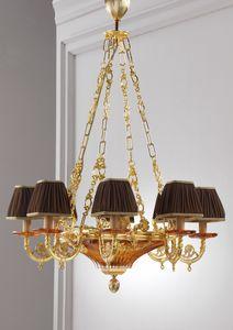 Art. MER 835, Lampadario classico, in ottone e cristallo, artigianale