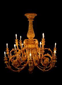 LAMPADARIO ART. LM 0053, Lussuoso lampadario intagliato a mano