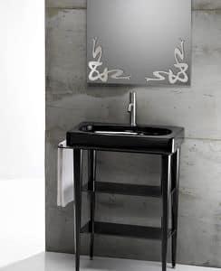 FUSION 65 DELUXE BASIN, Lavabo in ceramica con consolle in metallo e piani in vetro