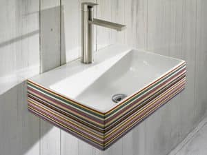 THIN CR BASIN, Lavabo sospeso con porta rubinetto