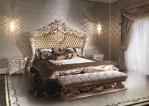 2014 Letto, Letto classico di lusso per hotel, laccato e dorato