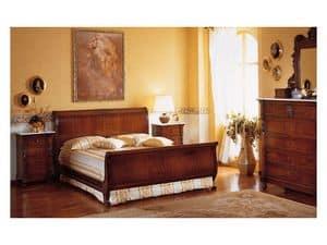 Art. 973 '800 Siciliano, Letto in legno intagliato a mano, per camera matrimoniale