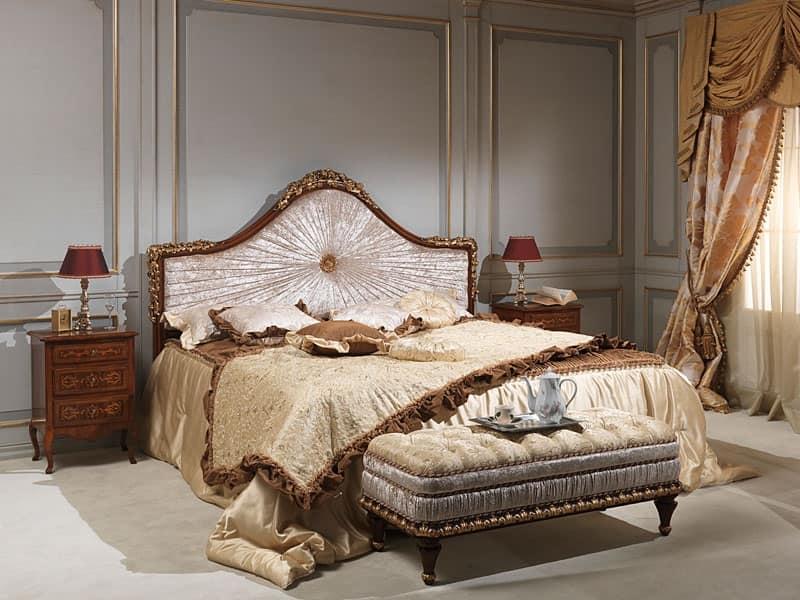 Art. 986-940 letto, Letto in legno massiccio, rivestimento in velluto, per albergo di lusso