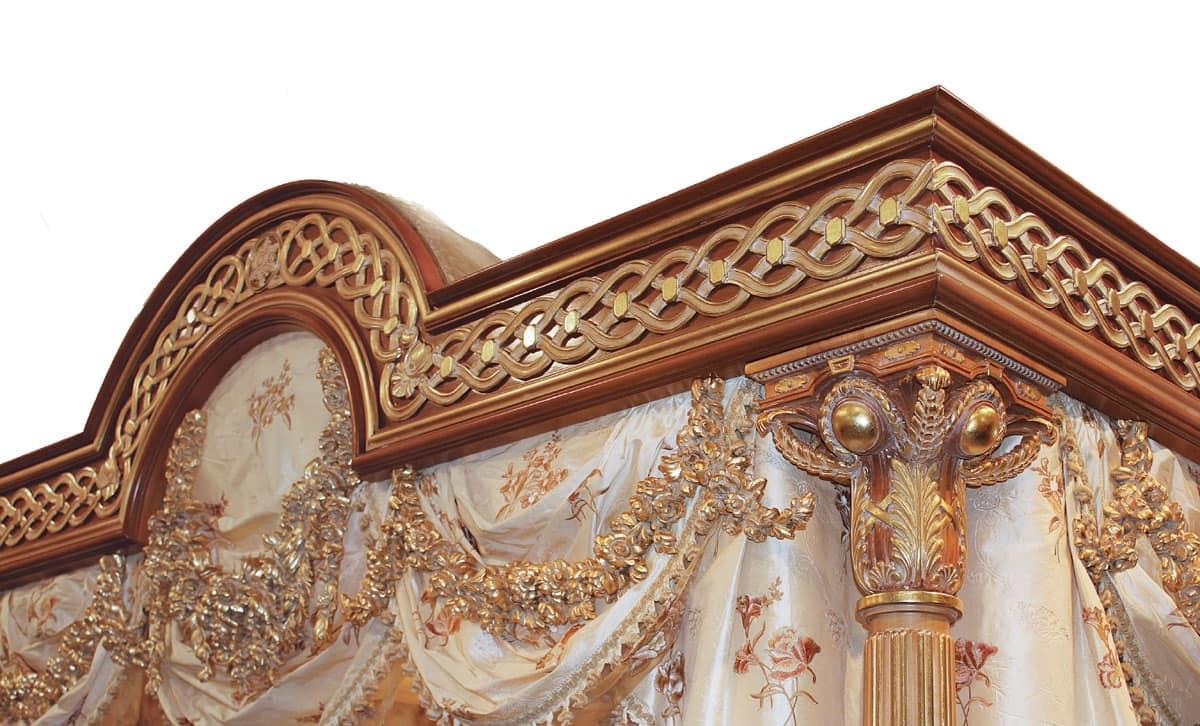 F517 Letto con Baldacchino, Letto lussuoso con baldacchino, in legno massello intagliato