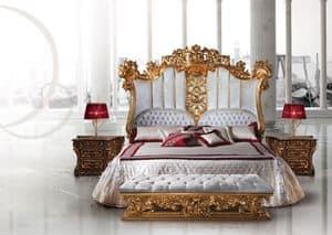 F973 Letto, Letto di lusso in legno decorato in stile Luigi XV per Camera
