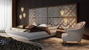 Intrigue letto con testiera orizzontale large, Letto con elegante testiera, personalizzabile nelle finiture