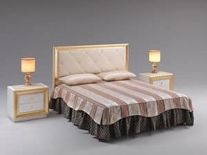 Jolie letto, Letto con testiera imbottita, rivestimento in ecopelle, per prestigiose camere
