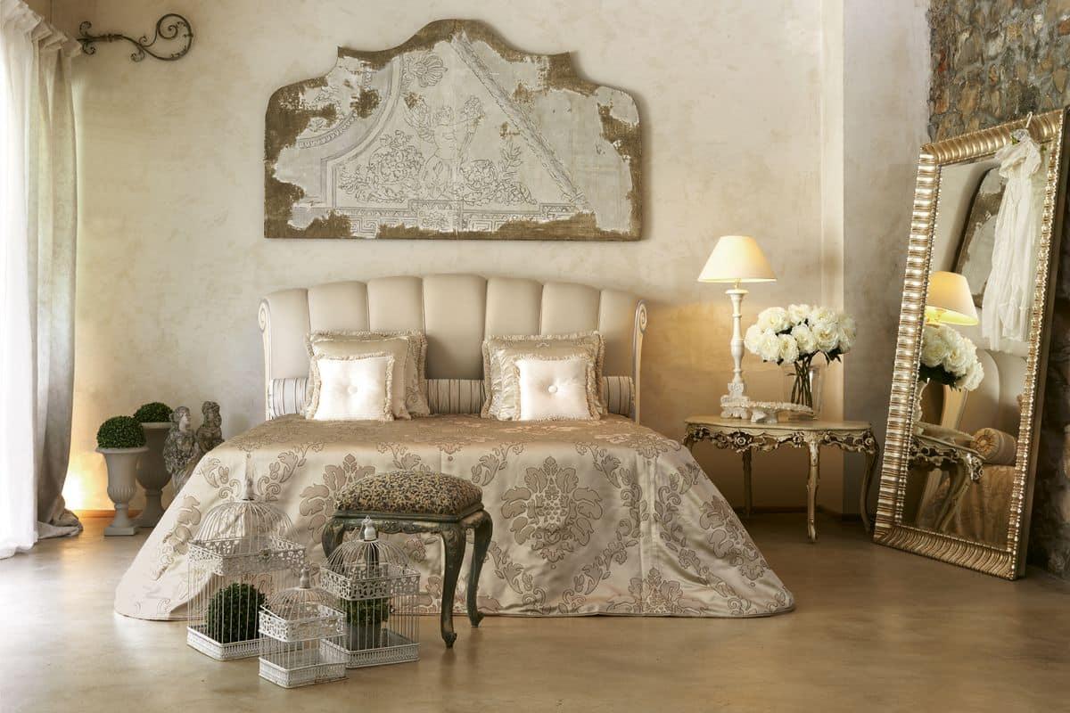 Kronos letto, Letto classico con inserto laccato avorio e argento