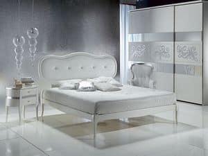 LE08 Novecento imbottito letto, Letto con testiera imbottita, elegante, per Albergo di lusso