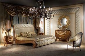 LE19 Vanity letto, Letto in legno massiccio, decori in foglia oro, capitonnè