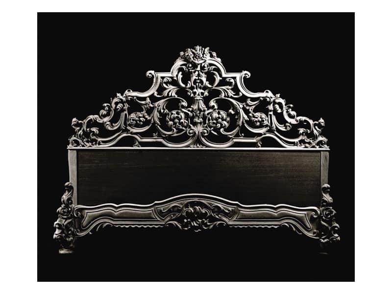 Letto art. 600, Letto classico con testiera in legno intagliato a mano