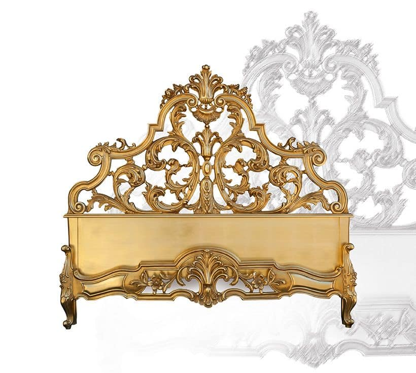 Letto art. 75/a, Letto in legno intagliato a mano, stile barocco