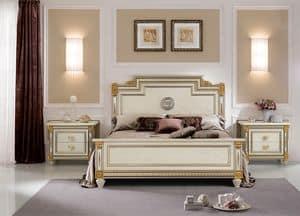 Liberty letto, Letto classico di lusso, con decorazioni artigianali, materiali di alta qualit�