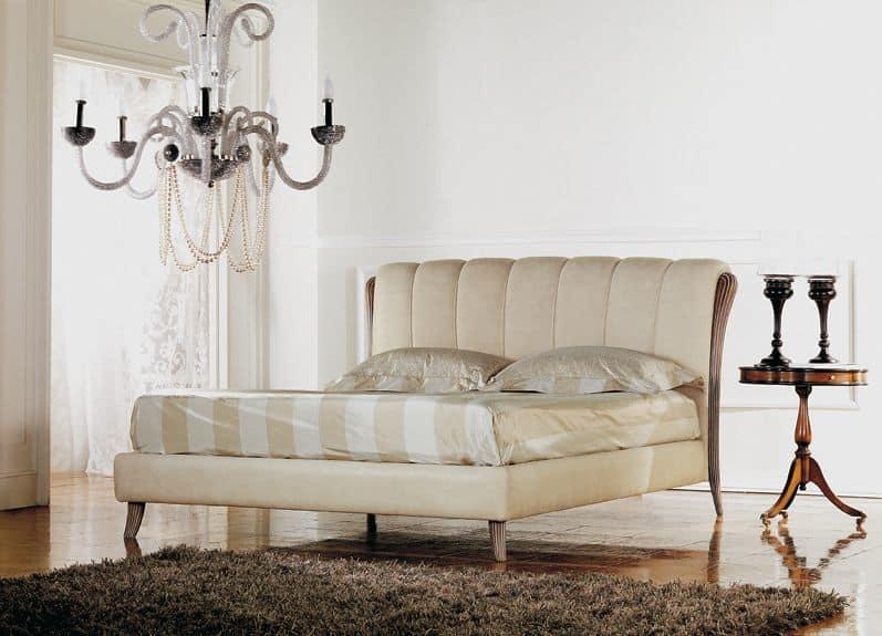 Ikarus letto, Letto classico di lusso, inserto in legno con lucidatura decapè
