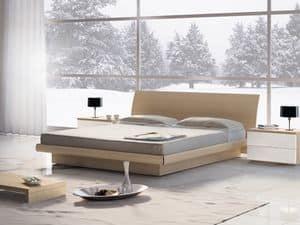 Letto Design 06, Letto matrimoniale in legno con contenitore