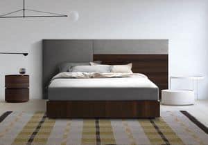 Boiserie comp.04, Testiera imbottita e in legno, per camere moderne