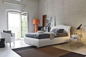 MADDALENA SD438, Letto piazza e mezza imbottito per camere da letto moderne