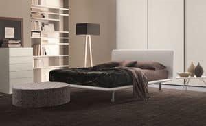 Paris, Letto in ecopelle con piano curvato, per camere da letto