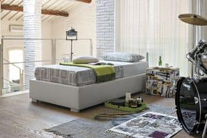 SOMMIER SB451, Letto singolo imbottito in soft-touch, stile moderno