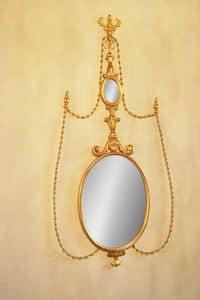 SPECCHIERA ART. CR 0043, Specchiera ovale in legno intagliato per alberghi di lusso