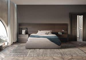 Boiserie comp.02, Testiera per letto in legno opaco, per hotel