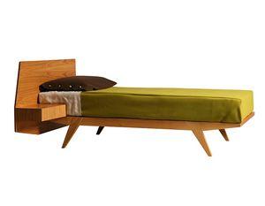 Gi� 2884, Letto in legno con comodino integrato