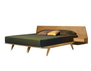 Gi� 2887, Letto in legno con comodini integrati