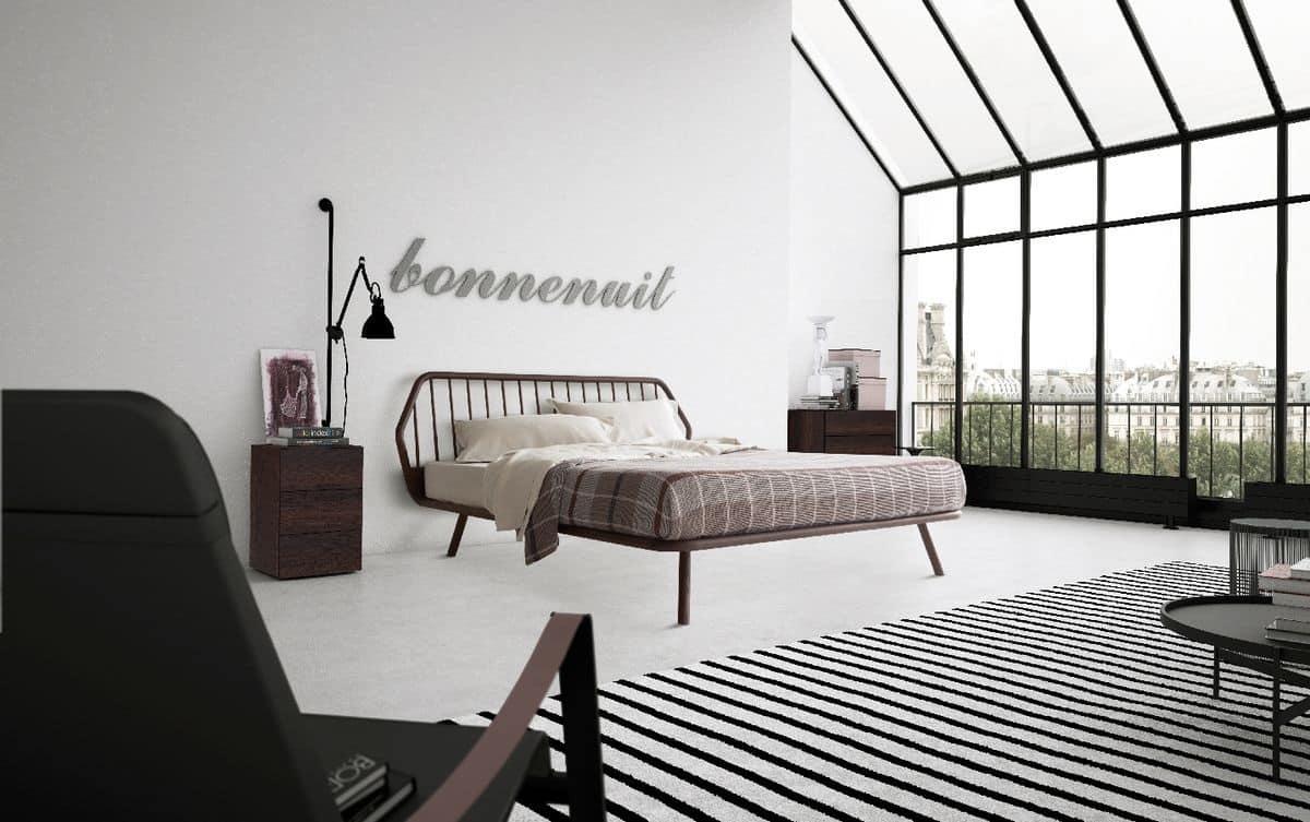 Letto matrimoniale, design minimale, con struttura in legno  IDFdesign