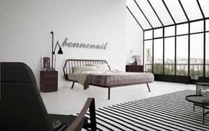 Trama, Letto matrimoniale, design minimale, con struttura in legno