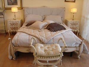 Abbon, Letto classico per camere hotel, in stile Luigi XV