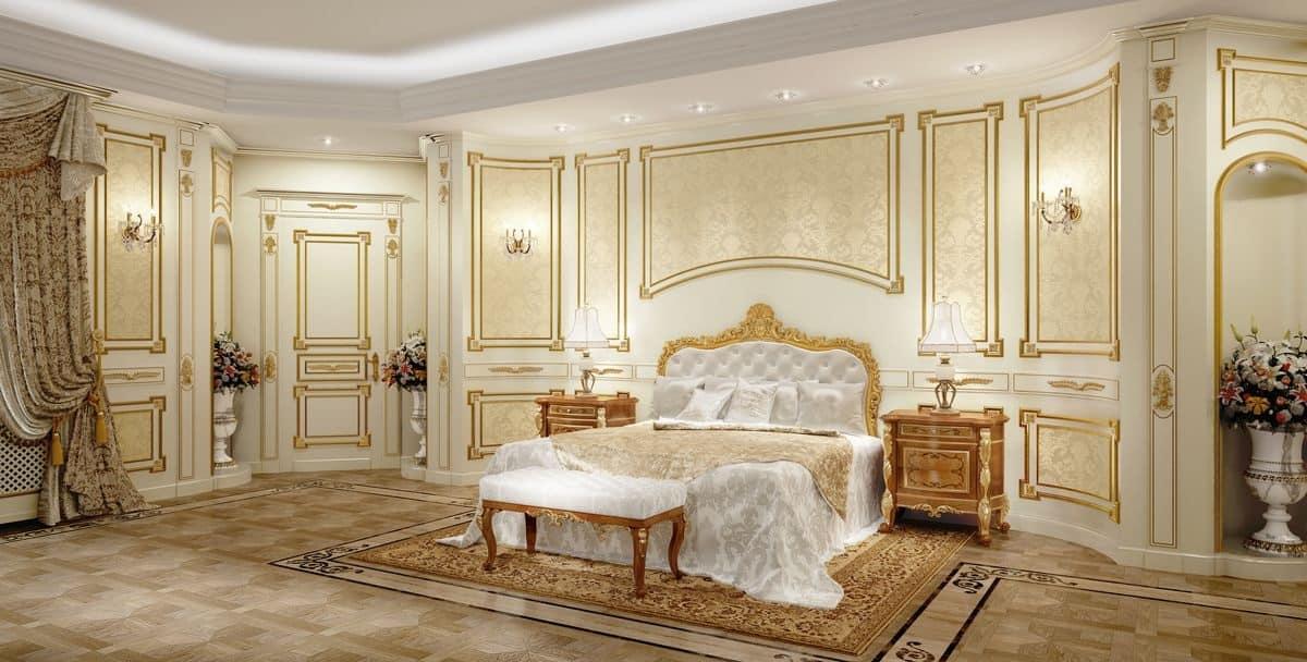 Letto classico di lusso con testiera intagliata per hotel  IDFdesign