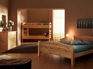 Bastia letto, Letto in legno di abete, stile rustico