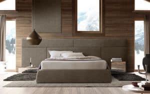 Boiserie comp.01, Testiera per letto in legno, modulare ed elegante