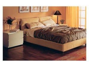 Camera 12, Letto imbottito, rivestimento in alcantara sfoderabile, per camere da letto residenziali