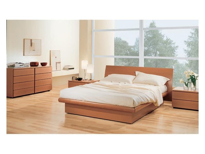 Camera 36, Camera con letto contenitore, in legno noce tanganica, abbinabile a comò e comodini